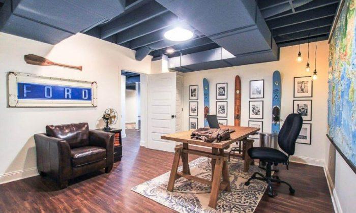 Basement Finishing Ideas Masculine Home Office