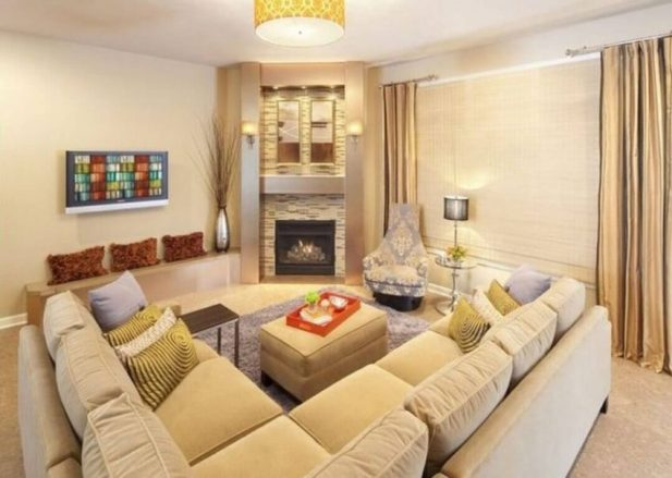 Corner Fireplace Ideas Sectional Seating