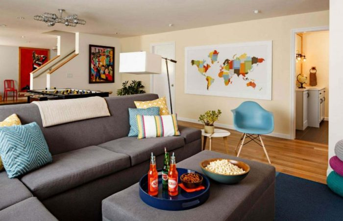 Young and Chic Room Basement Finishing Ideas
