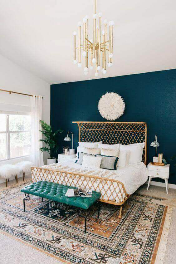 The Luxurious Master Bedroom Paint Colors Ideas of Gold and Turquoise