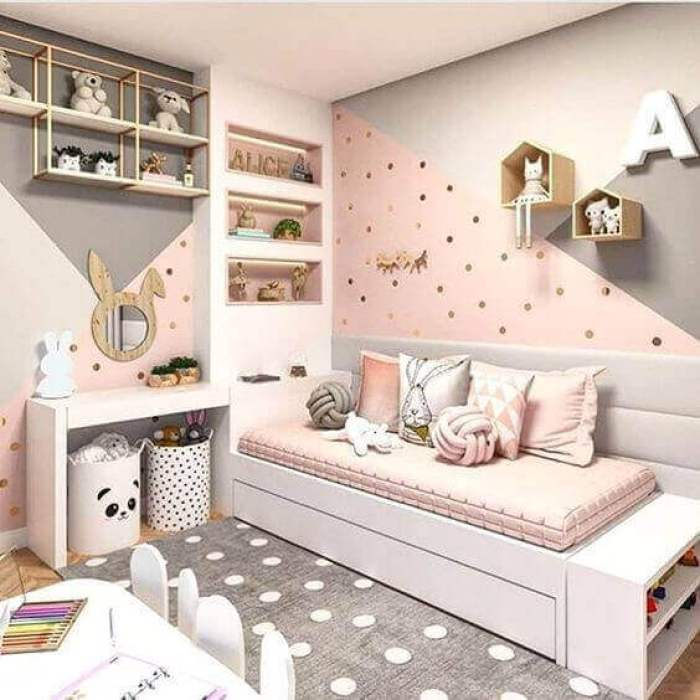 Teenage Kid Girls Bedroom Ideas Pink and Grey - Harptimes.com