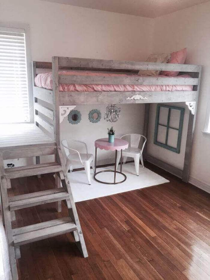 Little Girls Bedroom Ideas for Small Rooms with Vintage Loft Bed - Harptimes.com