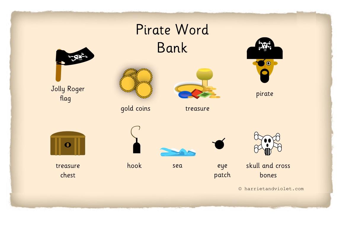 Pirate Key Words Word Mat