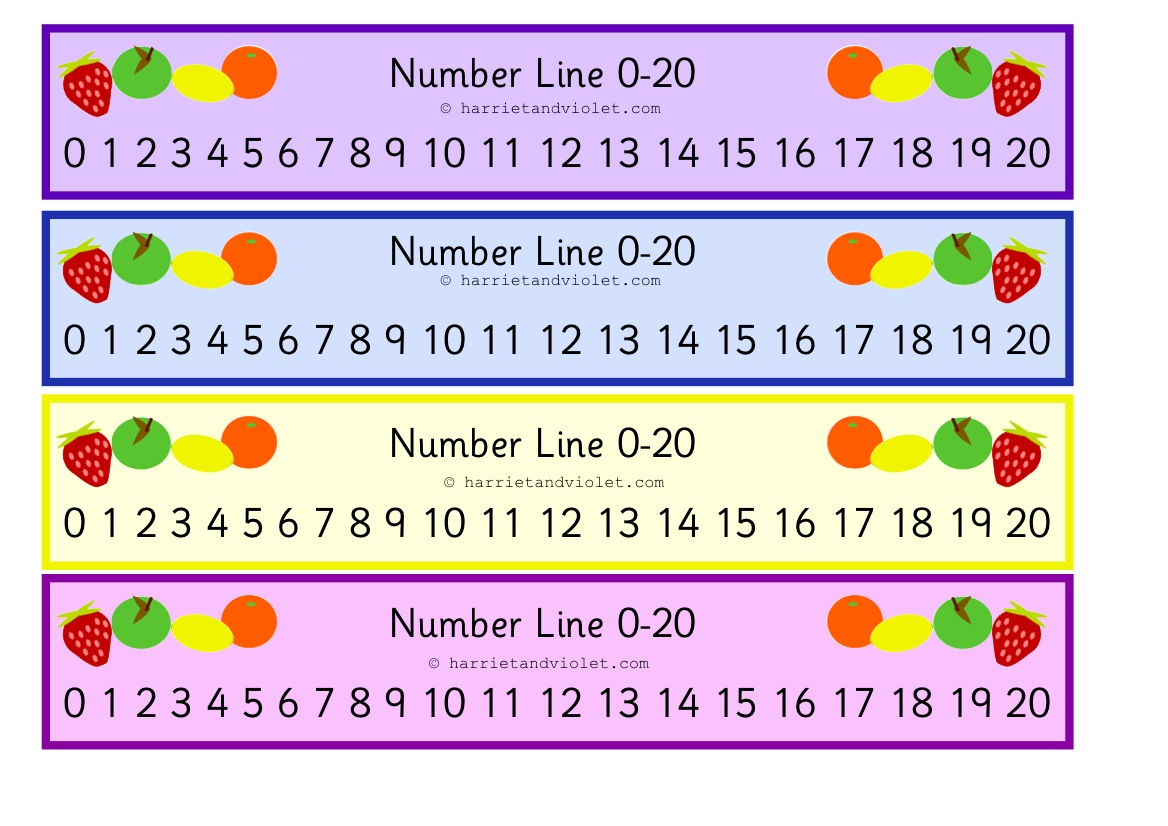Fruit Number Line 0 To 20