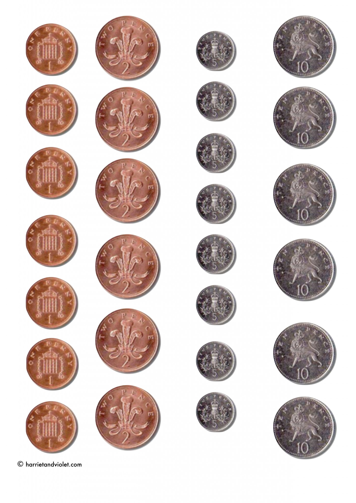 Printable Coins For Games Counting