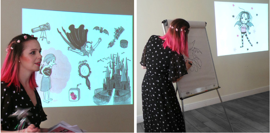 Harriet Muncaster presenting at St. Ives Book Jam