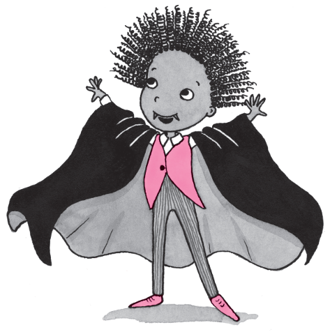 OIiver from Isadora Moon dresses up as a vampire