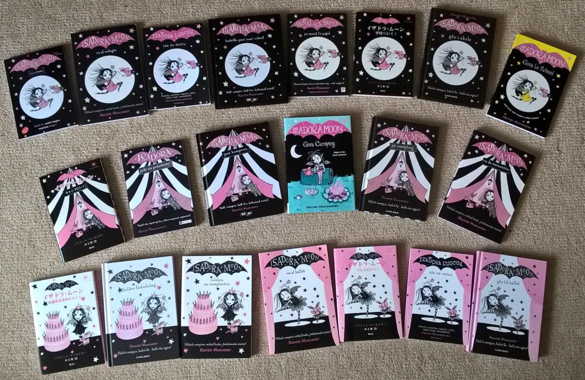 Covers of all my foreign editions of Isadora Moon