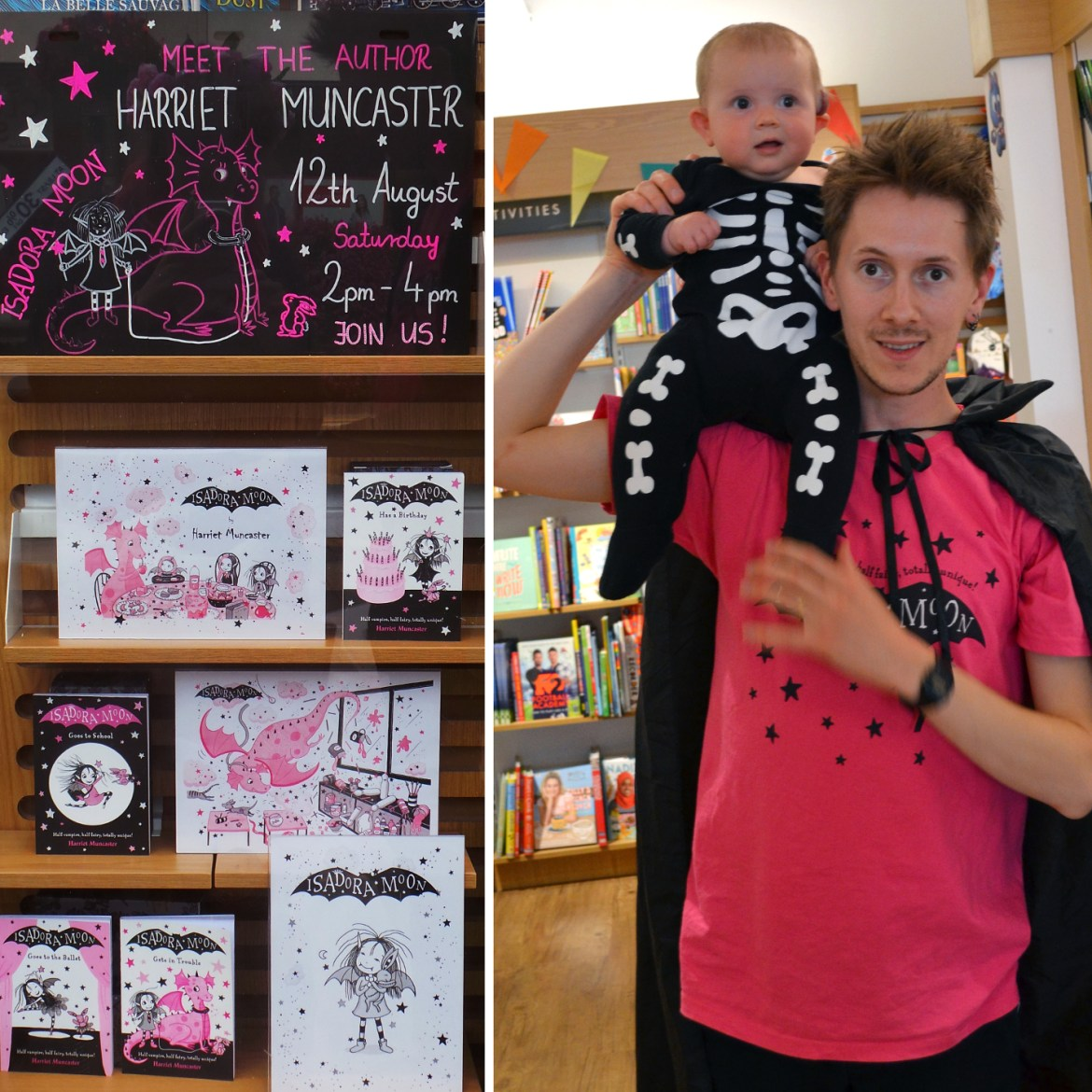The full pink-and-black window display at Watford Waterstones and Henry and Celestine in their event outfits