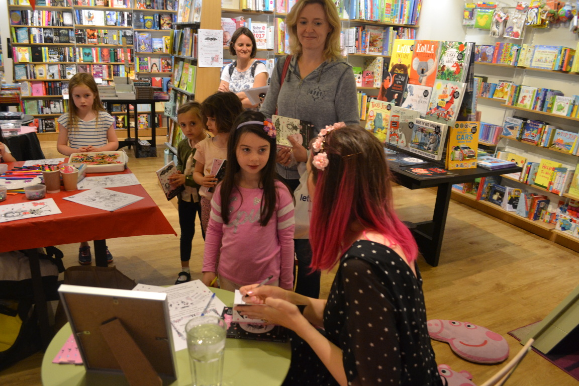 Book signing queue at the Welwyn Waterstones Event
