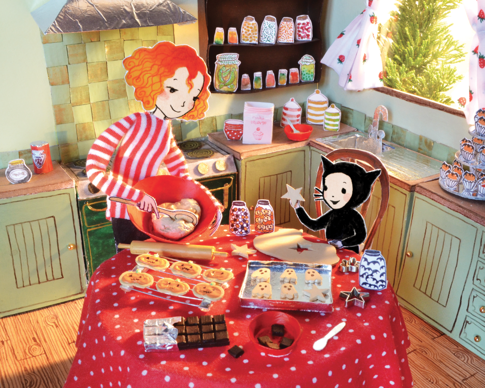 Kitchen scene from HAPPY HALLOWEEN WITCH'S CAT by Harriet Muncaster