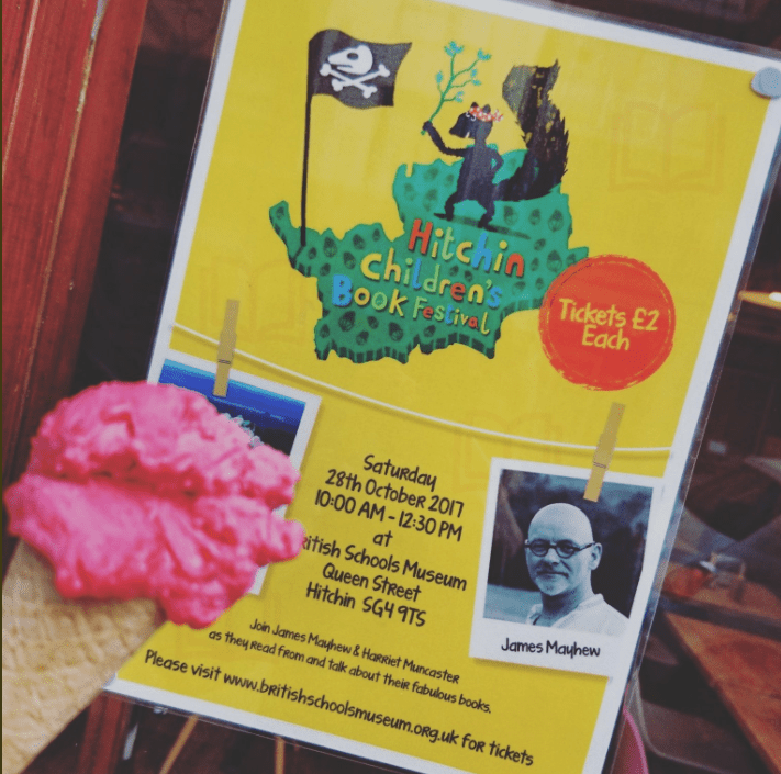 Hitchin Childrens Book Festival poster at Fabios Gelato
