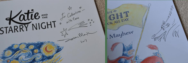 James Mayhews dedications in two books