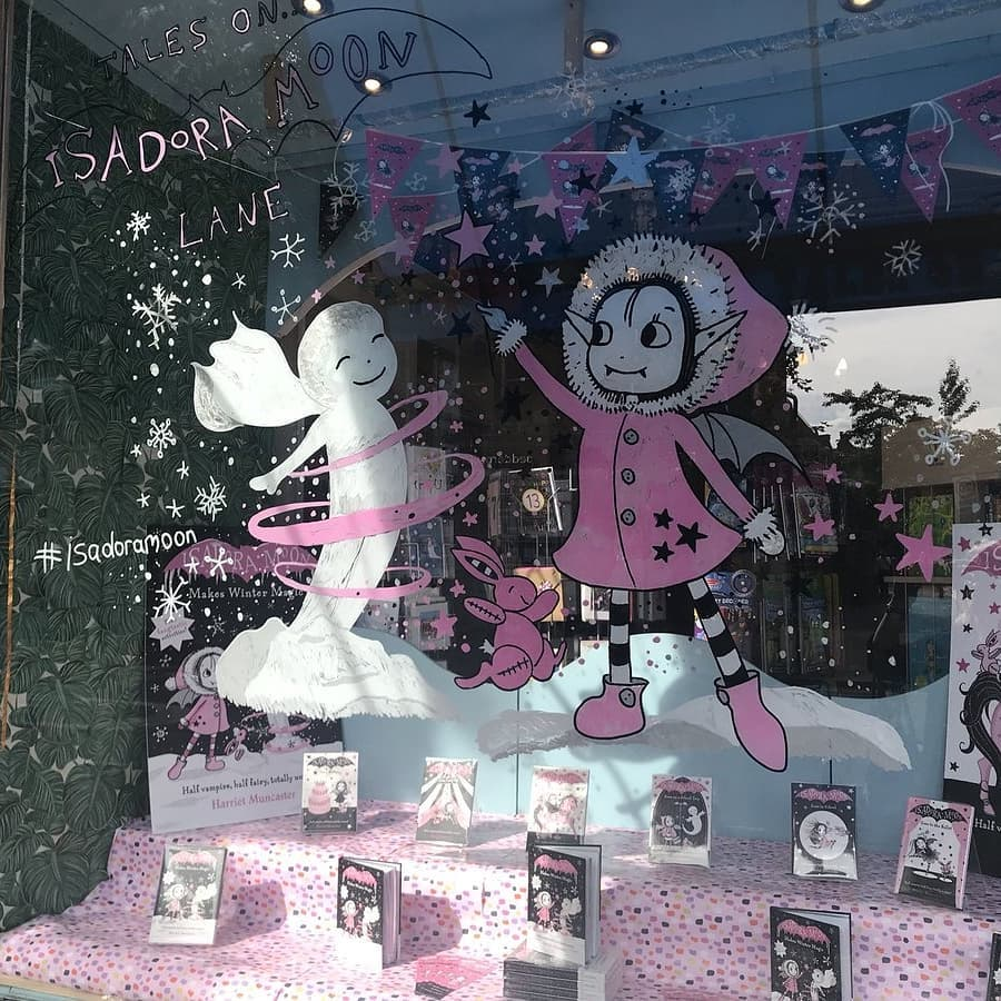 Isadora Moon window painting and display in Tales on Moon Lane