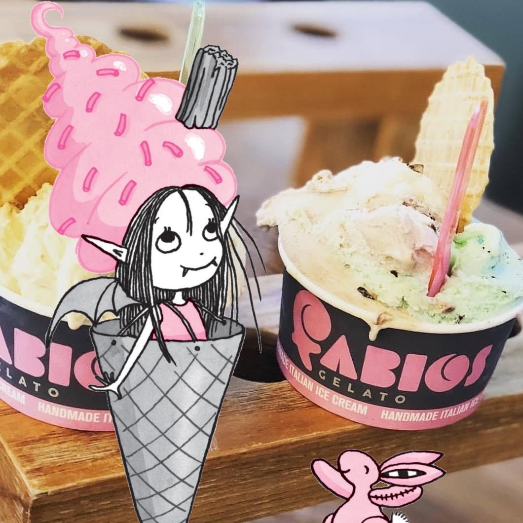 Isadora as ice cream at Fabios