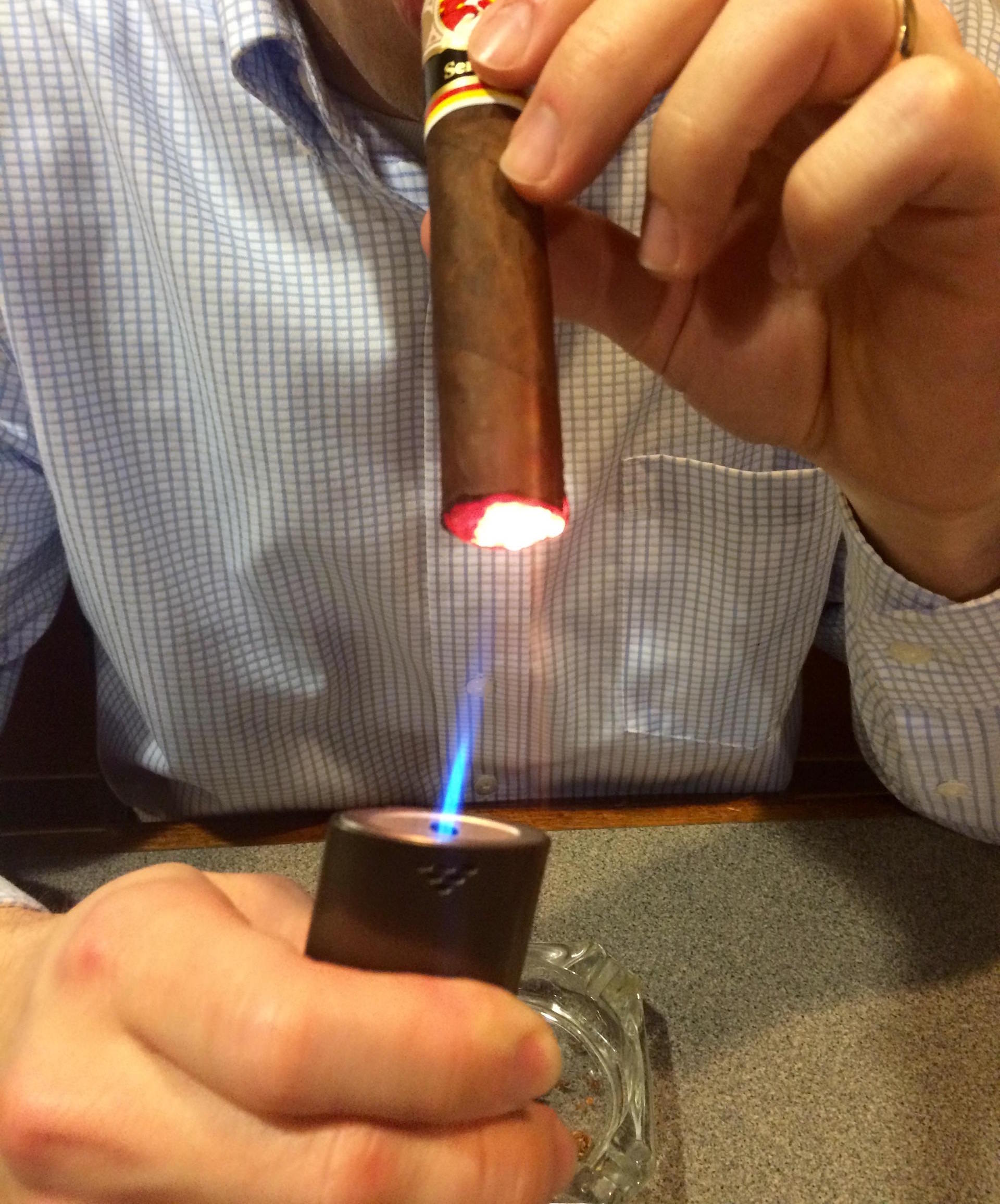 Lighting the La Gloria Cubana Serie RF No. 13 cigar by Aaron Aiken from the Harrisburg Cigar Club