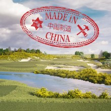 Image showing a golf course visualisation with a Made in China stamp
