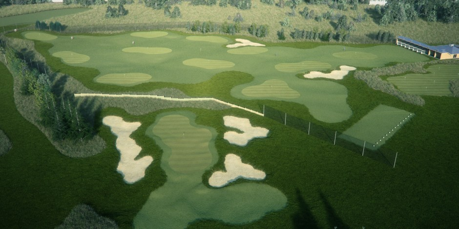 Visualisation showing an aerial view of the practice range, greens and building
