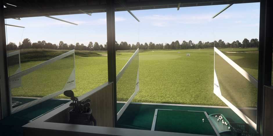 Visualisation showing a view from one of the practice range bays