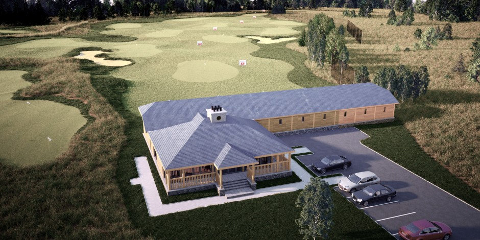 Visualisation showing an aerial view of the practice range building