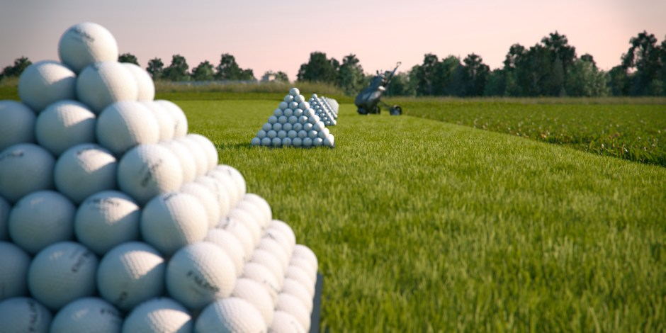 Visualisation showing a close up view of a pyramid of golf balls