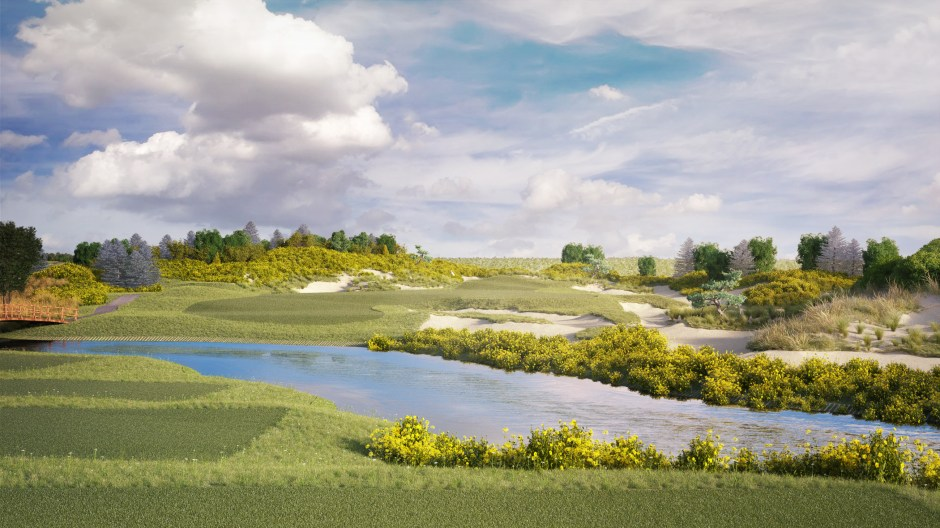 Visualisation of hole 17 at the Shanghai Qidong golf course