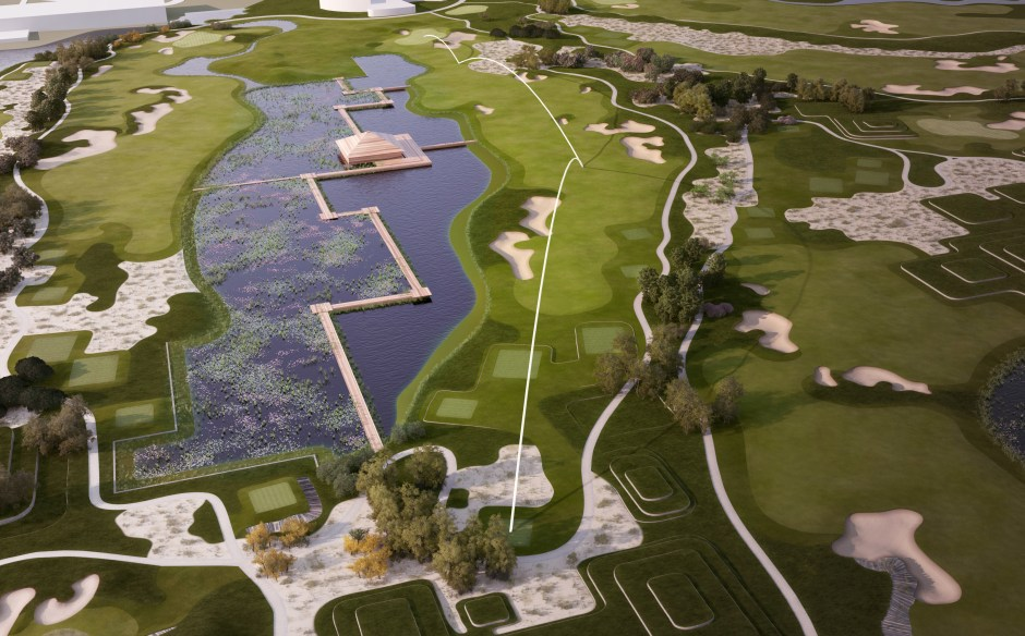 Visualisation showing hole 18 at the Vattanac golf course in Cambodia