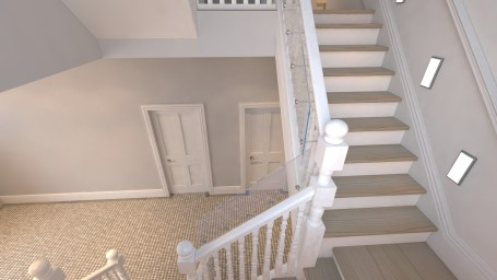 Visualisation showing the stairs and proposed glass balustrades