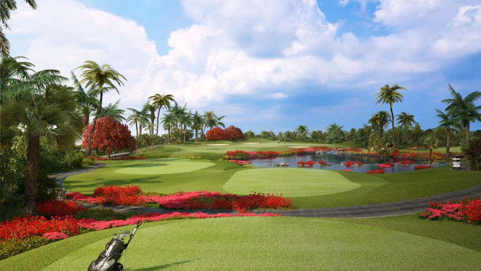 Visualisation from the back tee of the 7th hole at the Hainan golf course
