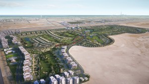 Visualisation showing an aerial view of the golf course and real estate of the Middle East golf development