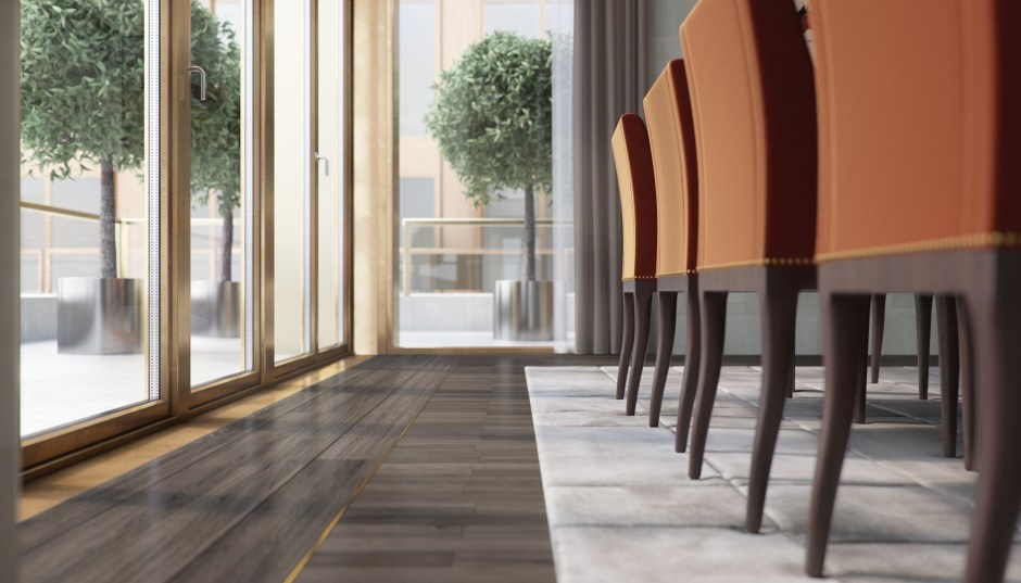 Architectural visualisation showing a close up detail of the dining room