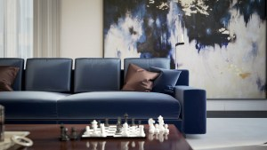 Architectural visualisation showing a close up detail of the sofa and chess board