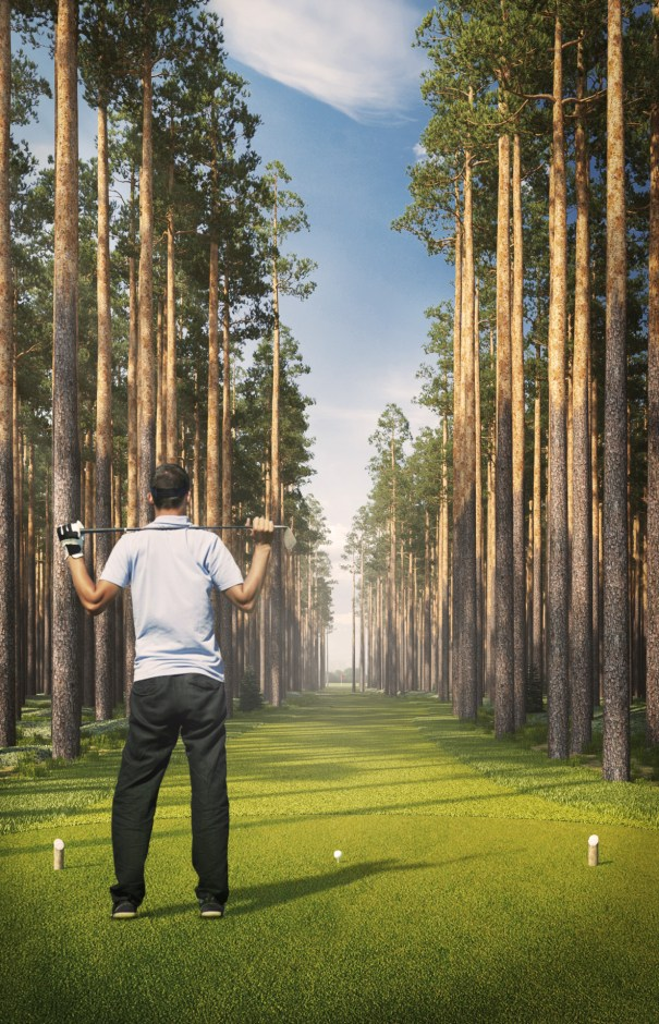An image showing an artist's impression of the world's narrowest fairway