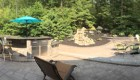 41-Complete backyard renovation with kitchen, waterfall, gas firepit, planting, landscape lighting, drainage and stairs. All walls and steps capped with custom cut bluestone (16)