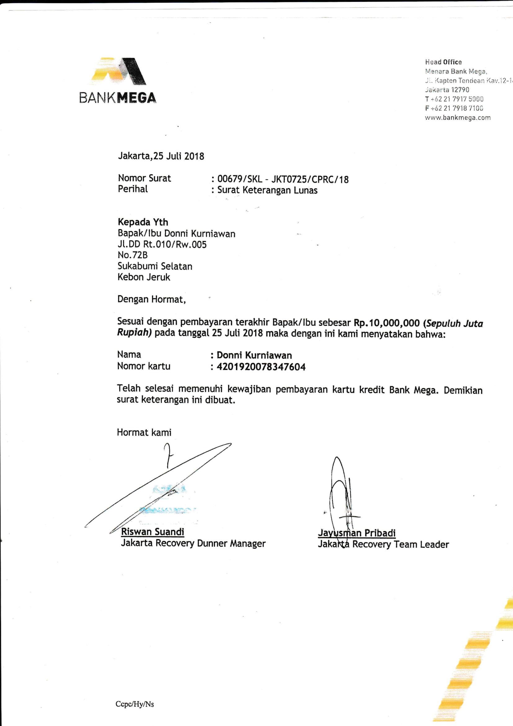 Contoh Surat Pernyataan Pelunasan Kartu Kredit Bank Mega Download Kumpulan Gambar