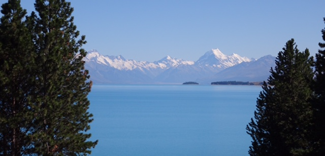 The first view of Mount Cook 40 miles away across Lake Pukaki.