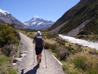 Walking into the Hooker Valley with Mount Cook ahead.