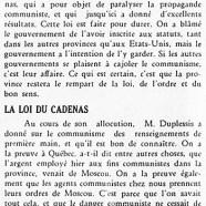 «M. Duplessis et le communisme; La loi du cadenas»