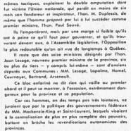«L'honorable Jean Lesage au milieu de ses fédéraux»