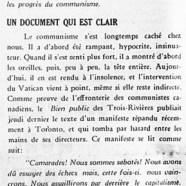 «Le Vatican et le communisme; Un document qui est clair»