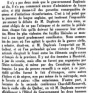 «Le gouvernement de Maurice Duplessis»