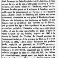«L'enseignement spécialisé des textiles à Saint-Hyacinthe»