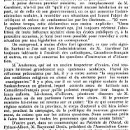 «M. Anderson et  les Canadiens-Français»
