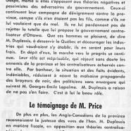 «Maurice Duplessis a le beau rôle; Le témoignage de M. Price»