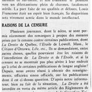 «Louis Francoeur; Raisons de la censure»