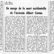 «En marge de la mort accidentelle de l'écrivain Albert Camus»