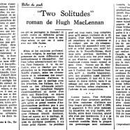 "«""Two Solitudes"" roman de Hugh MacLennan»"