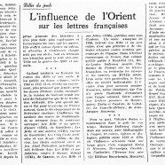 «L'influence de l'Orient sur les lettres françaises»
