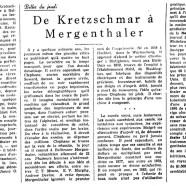 «De Kretzschmar à Mergenthaler»