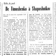 «De Timoshenko à Shaposhnikov»